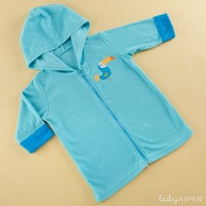 Baby Aspen Tropical Toucan Hooded Beach Zip Up NWT